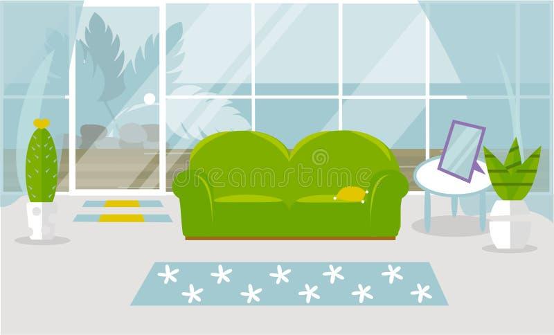 Interior moderno da sala de visitas Bandeira do vetor Projeto de uma sala acolhedor com um sofá, uma mesa de centro, flores e dec ilustração do vetor