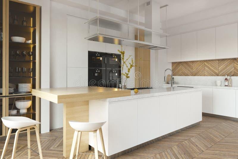 Interior moderno da sala de visitas com cozinha imagens de stock royalty free