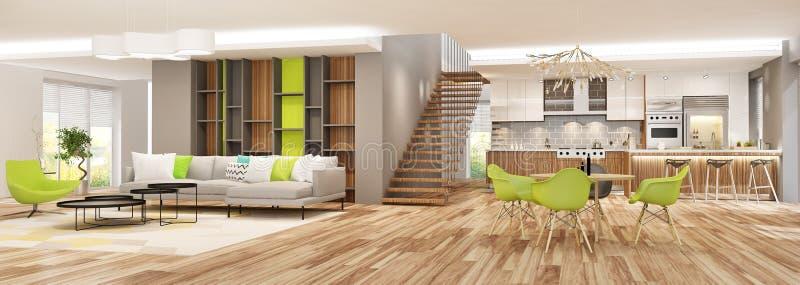 Interior moderno da sala de visitas com a cozinha em uma casa ou o apartamento em cores cinzentas com acentos verdes ilustração stock