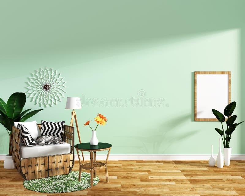 Interior moderno da sala de visitas com decoração da poltrona e plantas verdes no fundo da parede da textura da telha da hortelã, ilustração stock