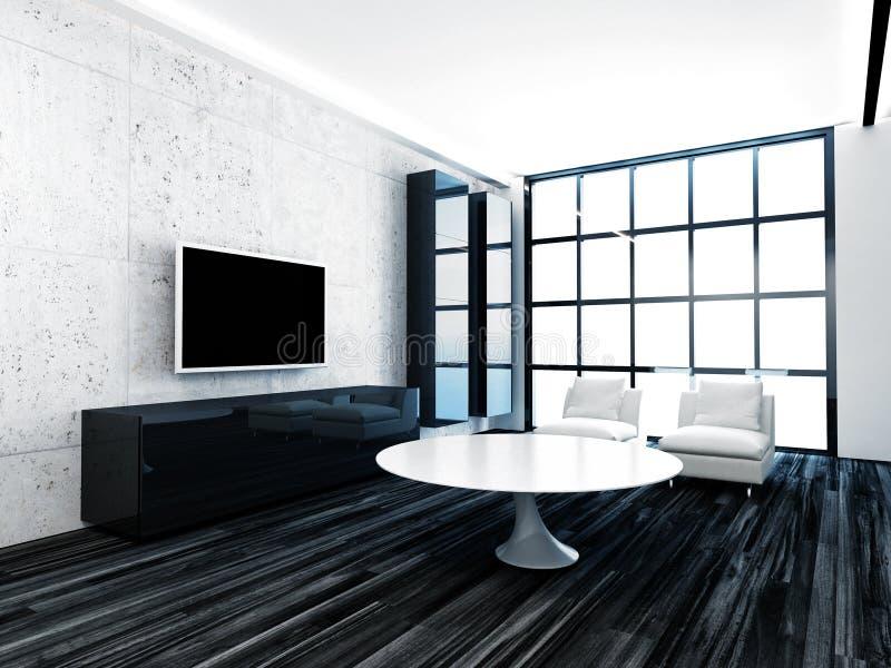 Interior moderno da sala de visitas com janela e o assoalho de madeira preto ilustração royalty free