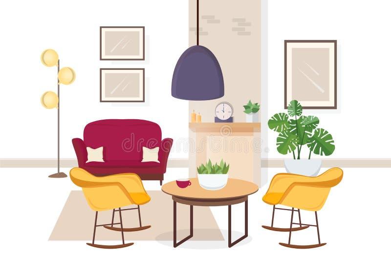 Interior moderno da sala de visitas com mobília confortável e as decorações home na moda - sofá, poltronas, tapete, mesa de centr ilustração do vetor