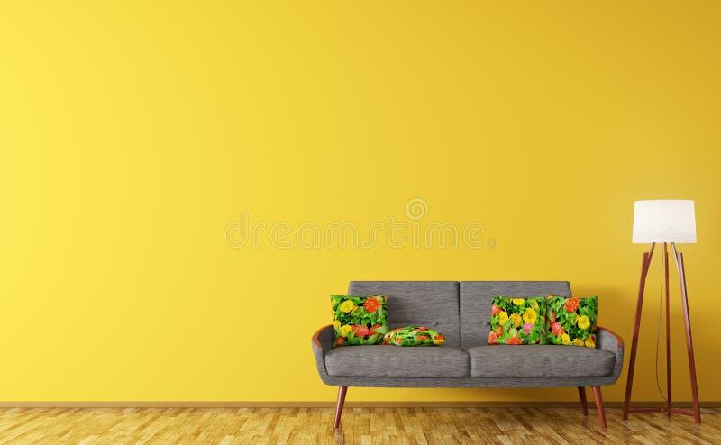 Interior moderno da sala de visitas com rende do sofá e da lâmpada de assoalho 3d ilustração do vetor