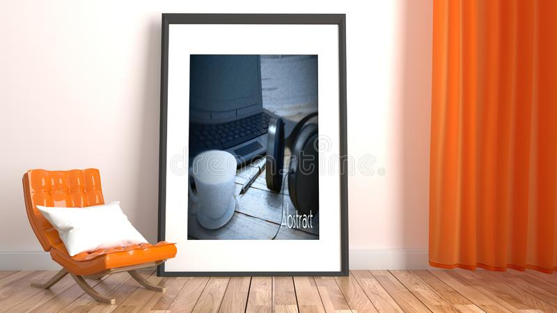 Interior moderno da sala de visitas com sofá alaranjado e quadro no fundo branco vazio da parede rendi??o 3d ilustração do vetor