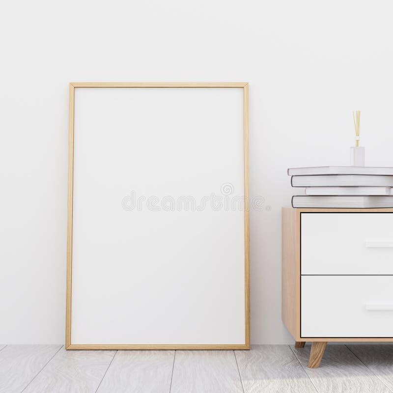 Interior moderno da sala de visitas com um armário de madeira e um modelo do cartaz, 3D para render foto de stock