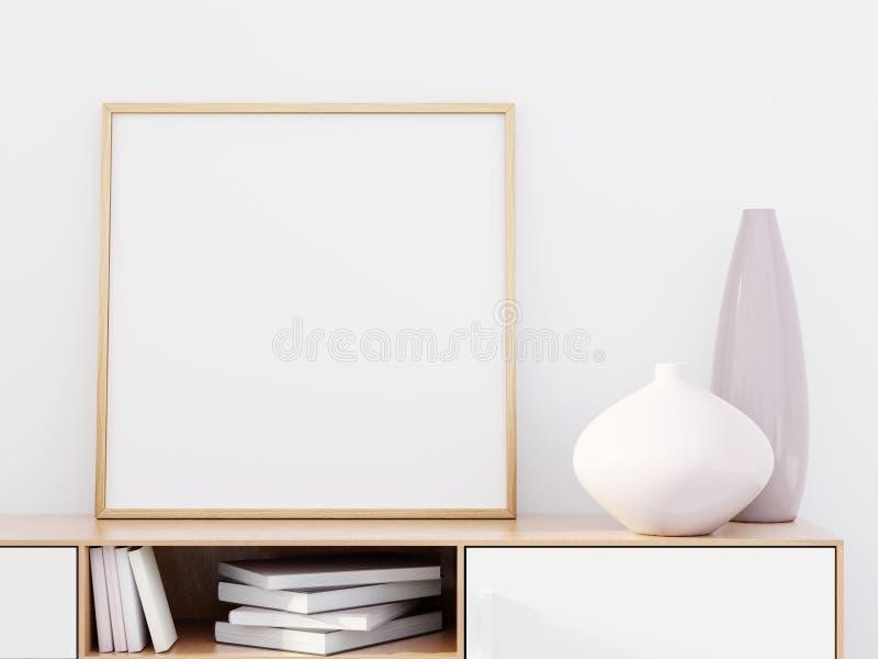 Interior moderno da sala de visitas com um armário de madeira e um modelo do cartaz, 3D para render imagens de stock