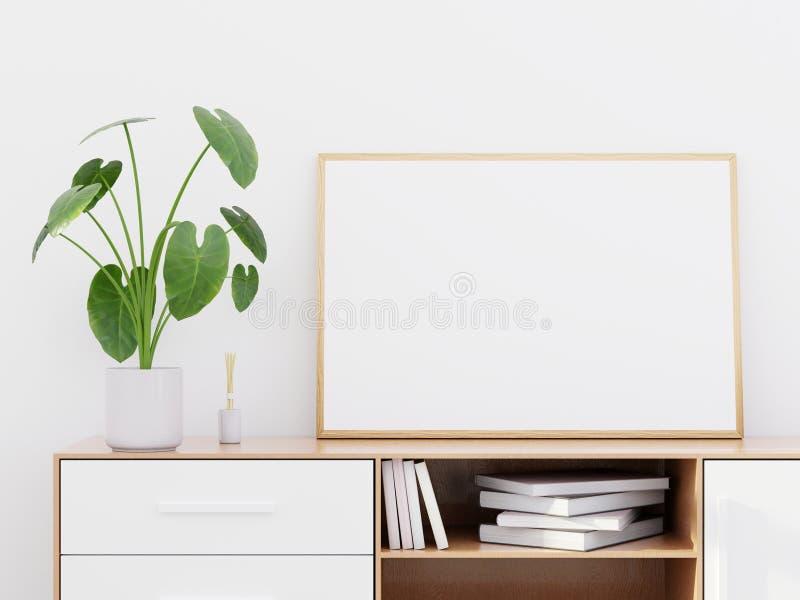 Interior moderno da sala de visitas com um armário de madeira e um modelo horizontal do cartaz, 3D para render imagens de stock