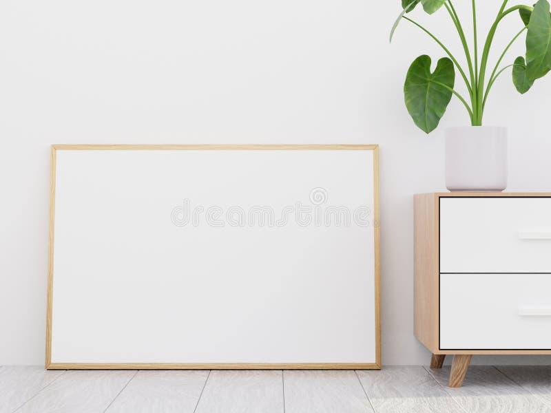 Interior moderno da sala de visitas com um armário de madeira e um modelo horizontal do cartaz, 3D para render imagens de stock royalty free