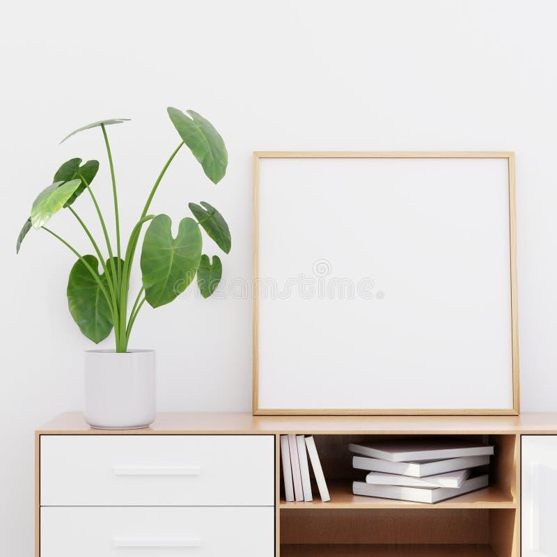 Interior moderno da sala de visitas com um armário de madeira e um modelo quadrado do cartaz, 3D para render imagens de stock