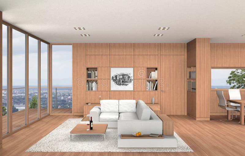 Interior moderno da sala de visitas e da sala de jantar com madeira de faia ilustração stock
