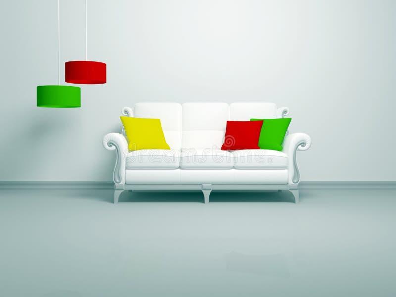 Interior moderno da sala de visitas minimalista branca ilustração stock