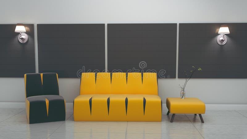 Interior moderno da sala de visitas no estilo escandinavo 3d para render ilustração stock