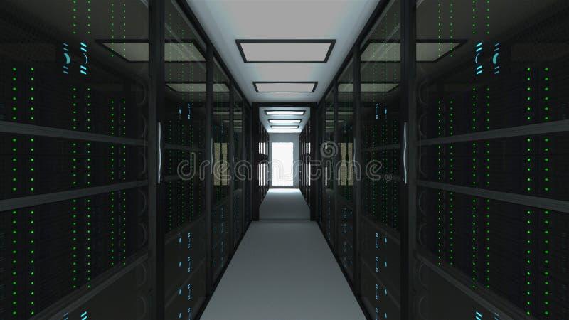 Interior moderno da sala do servidor na tecnologia da telecomunicação do datacenter, da rede da Web e do Internet, armazenamento  ilustração do vetor