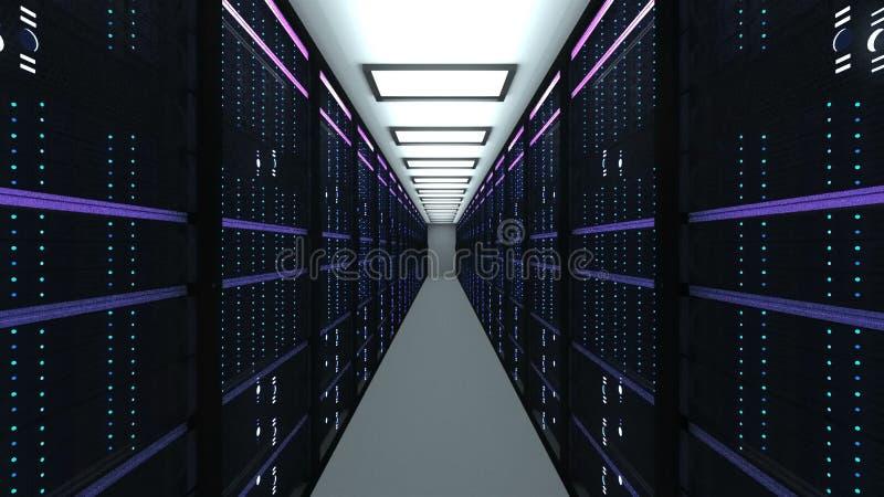 Interior moderno da sala do servidor na tecnologia da telecomunicação do datacenter, da rede da Web e do Internet, armazenamento  ilustração royalty free