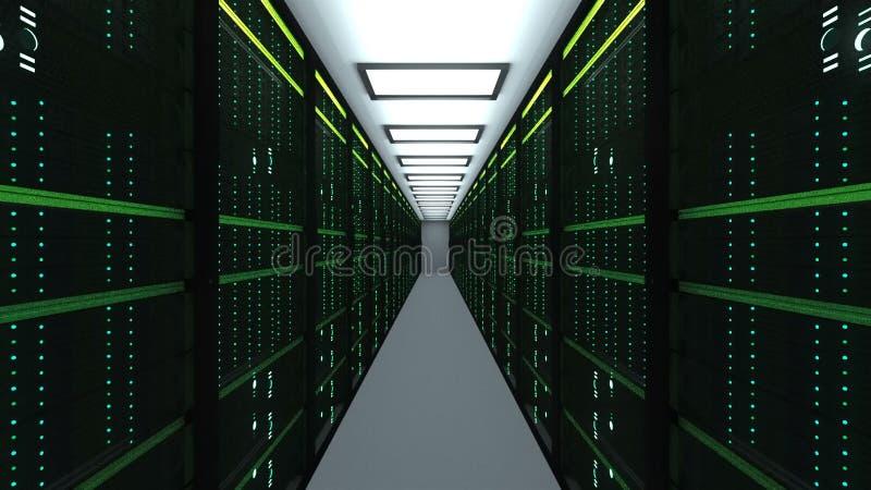 Interior moderno da sala do servidor na tecnologia da telecomunicação do datacenter, da rede da Web e do Internet, armazenamento  ilustração stock