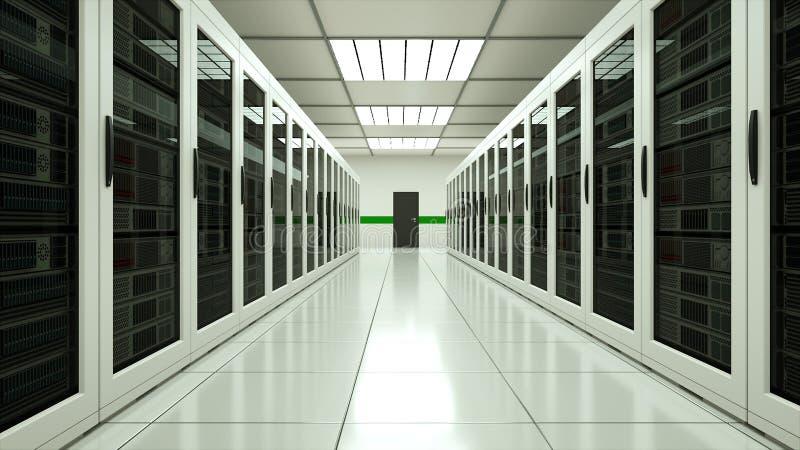 Interior moderno da sala do servidor na tecnologia da telecomunica??o do datacenter, da rede da Web e do Internet, armazenamento  ilustração do vetor