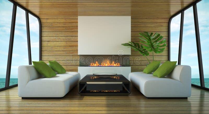 Interior moderno de la casa de playa stock de ilustración