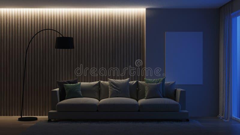 Interior moderno de la casa noche Iluminación de la tarde ilustración del vector