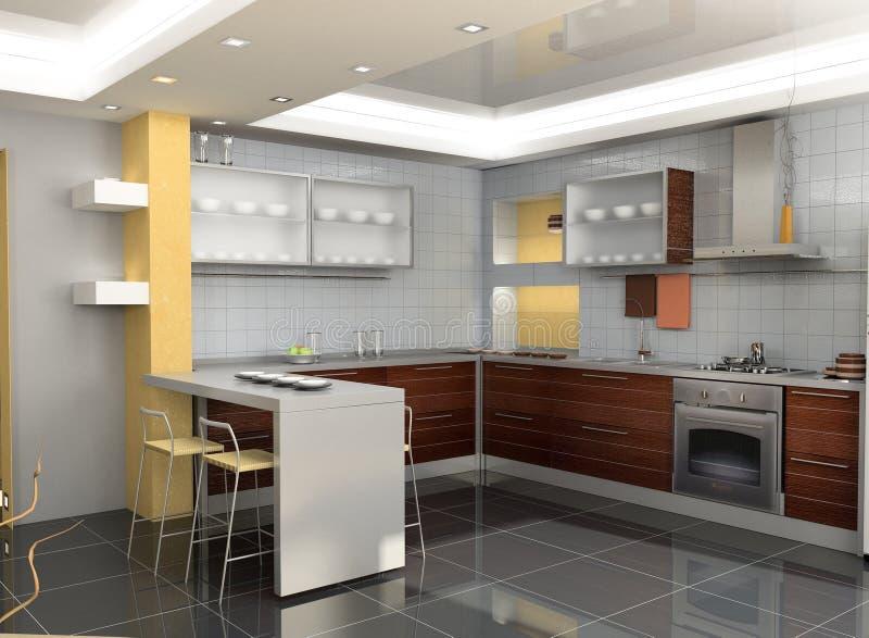 Interior moderno de la cocina stock de ilustración
