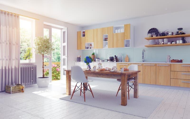 Interior moderno de la cocina libre illustration