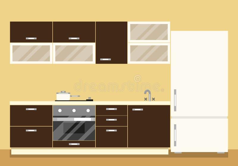 Interior Moderno De La Cocina Como Sistema Y Refrigerador De Los ...