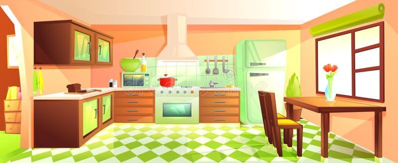 Interior moderno de la cocina con muebles Sitio del diseño con la capilla y estufa y microonda y fregadero y refrigerador libre illustration