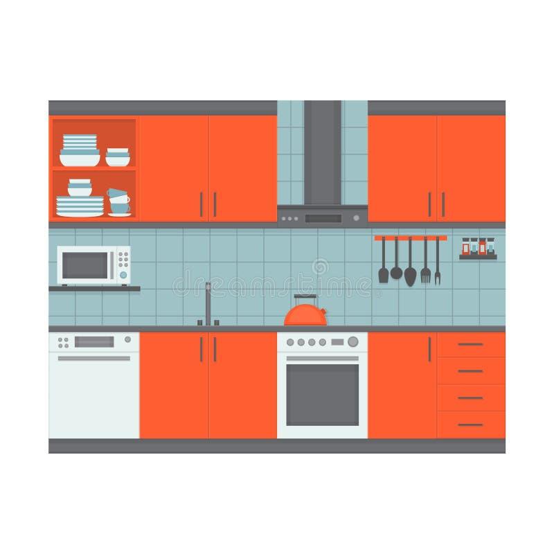 Interior moderno de la cocina con muebles y el equipo Front View libre illustration
