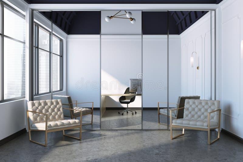 Interior moderno de la oficina con las butacas stock de ilustración