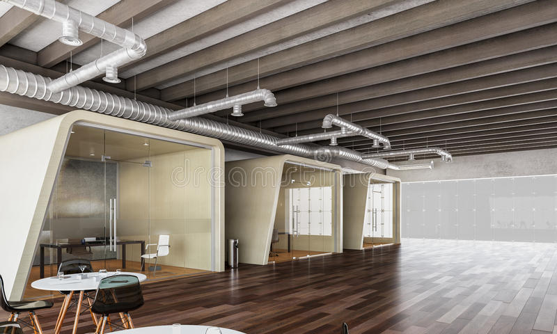 Interior moderno de la oficina 3d rinden imagenes de archivo