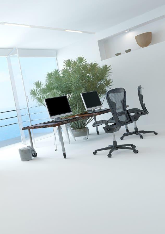 Interior moderno de la oficina de la costa stock de ilustración