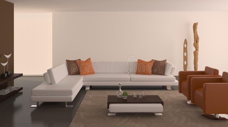 Interior moderno de la sala de estar. stock de ilustración
