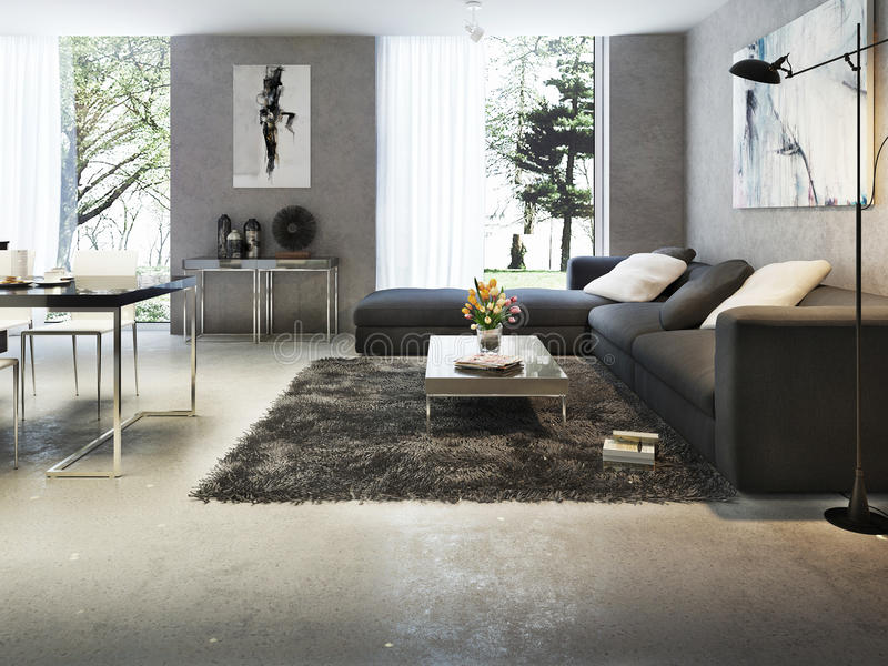 Interior moderno de la sala de estar stock de ilustración