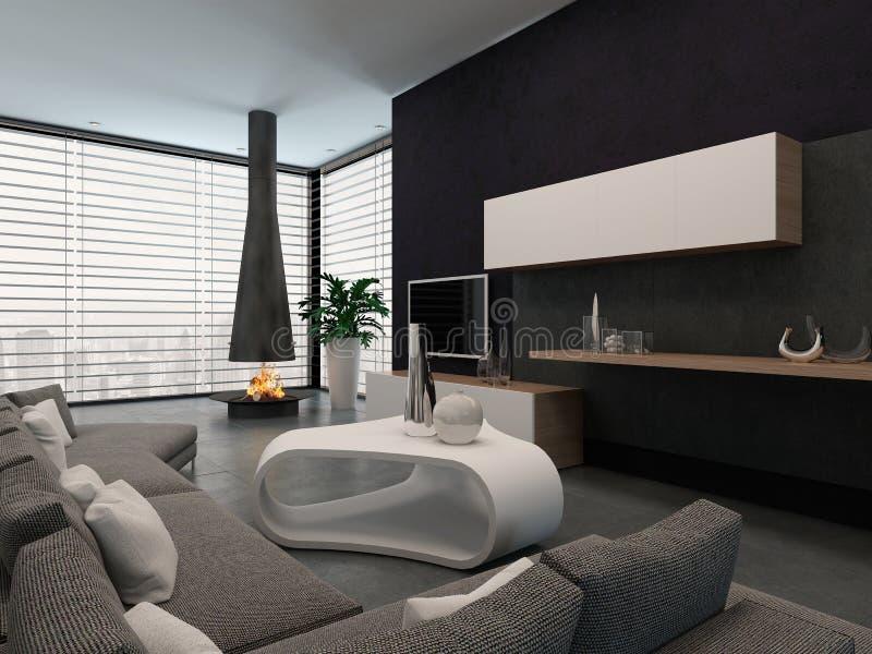 Interior moderno de la sala de estar con la chimenea ilustración del vector