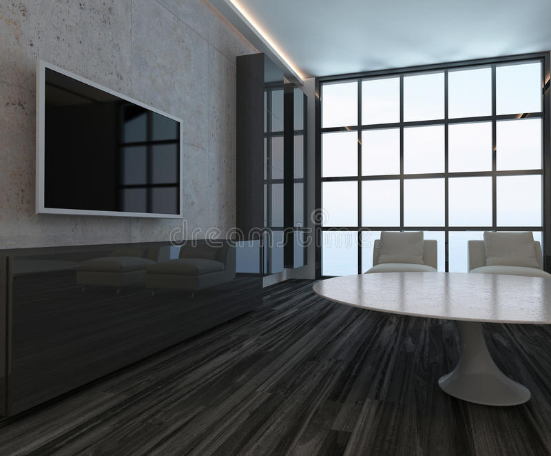 Interior Moderno De La Sala De Estar Con La Ventana Y El Piso De ...