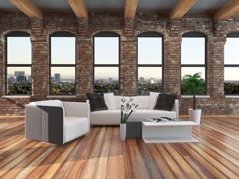 Interior moderno de la sala de estar del estilo del desván stock de ilustración