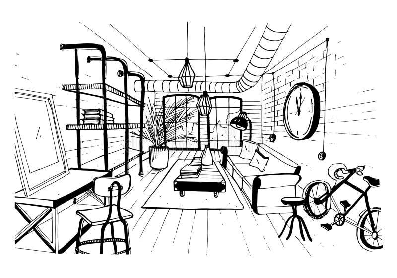 Interior moderno de la sala de estar en estilo del desván Ejemplo dibujado mano del bosquejo stock de ilustración