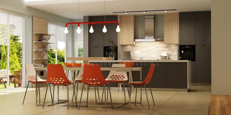 Interior moderno de la sala de estar con la cocina en estilo escandinavo fotos de archivo