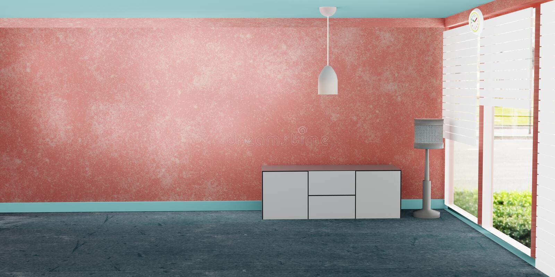 Interior moderno de la sala de estar con el gabinete blanco y la pared anaranjada stock de ilustración