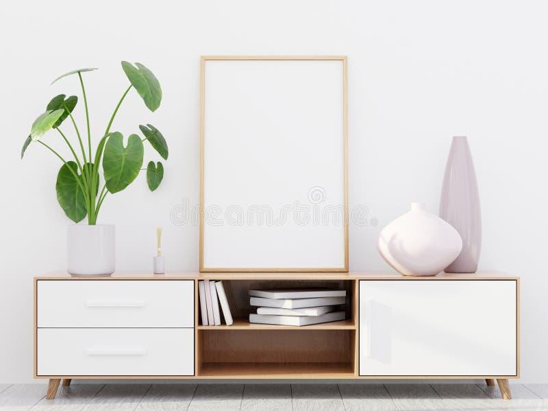 Interior moderno de la sala de estar con un aparador de madera y una maqueta del cartel, 3D rendir fotos de archivo libres de regalías