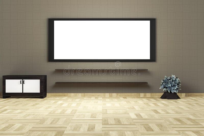 Interior moderno de la sala de estar con un tablero blanco grande en una pared marrón superior libre illustration