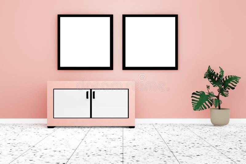 Interior moderno de la sala de estar con whiteboard gemelo en la pared anaranjada ilustración del vector