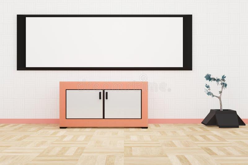 Interior moderno de la sala de estar un whiteboard grande en una pared blanca libre illustration