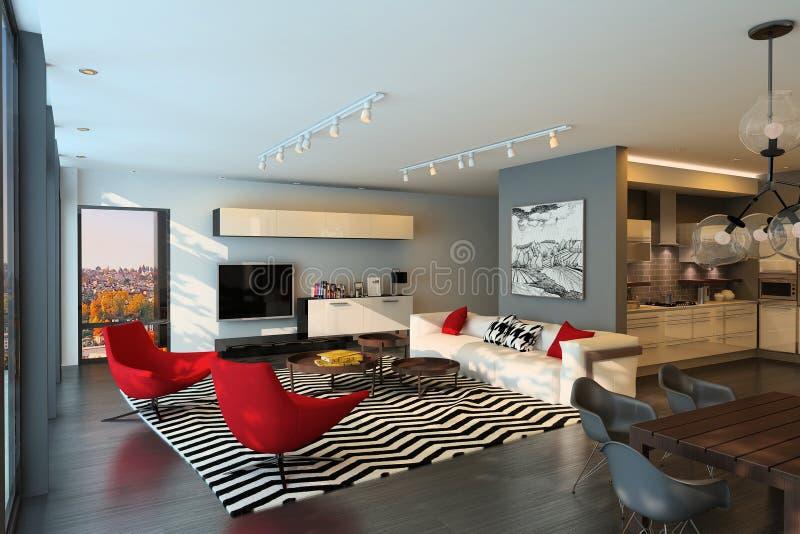 Interior moderno de la sala de estar unido con la cocina blanca en estilo escandinavo ilustración del vector