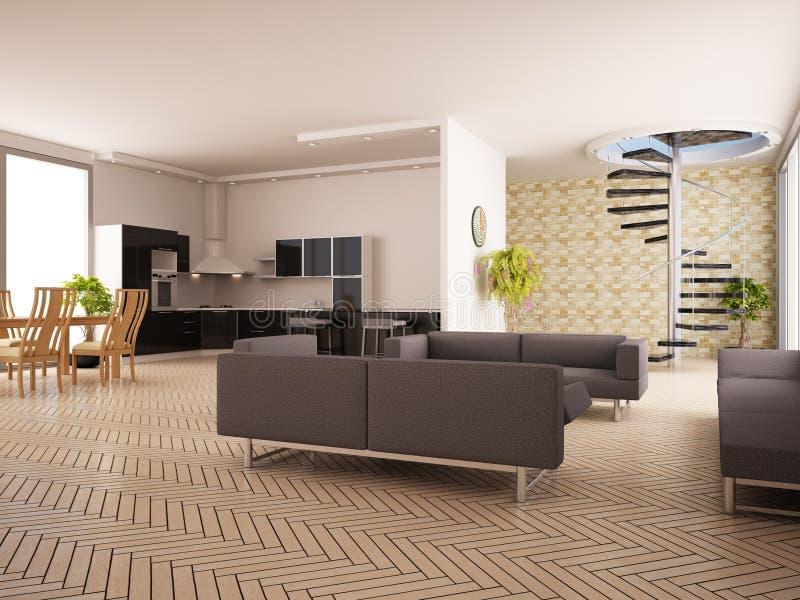 Interior moderno de uma sala de estar ilustração do vetor