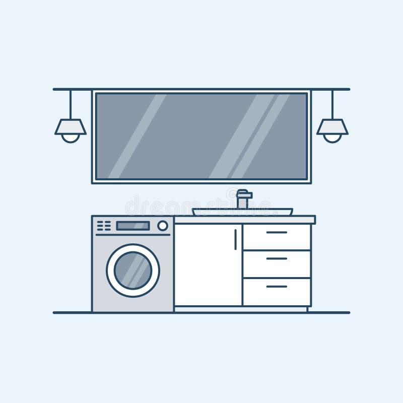 Interior moderno de un cuarto de baño con la lavadora y el fregadero Un espejo grande y lámparas Ejemplo del vector en un linear ilustración del vector