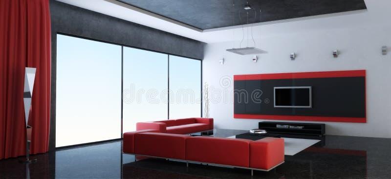 Interior moderno de una sala con los sofás rojos libre illustration