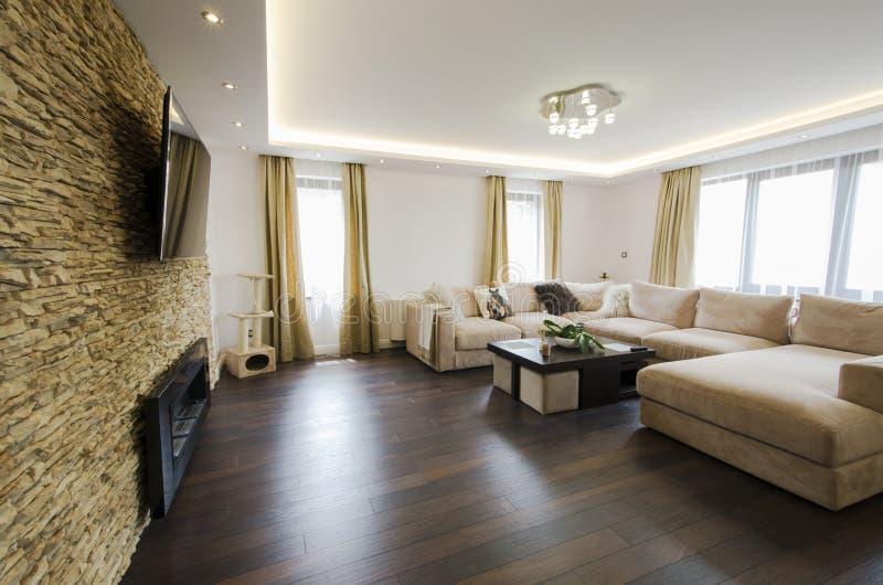 Interior moderno de una sala de estar con la chimenea y la TV imagen de archivo