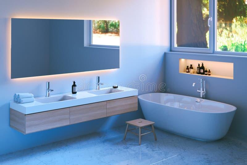 Interior moderno del cuarto de baño con el piso de mármol 3d rinden foto de archivo libre de regalías