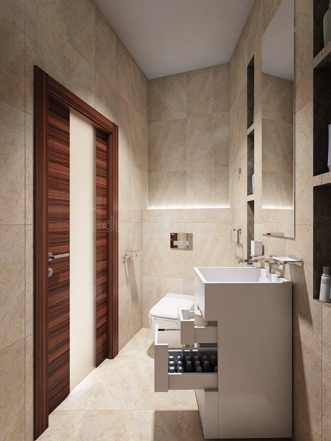 Interior Moderno Del Cuarto De Baño Con Las Tejas De ...