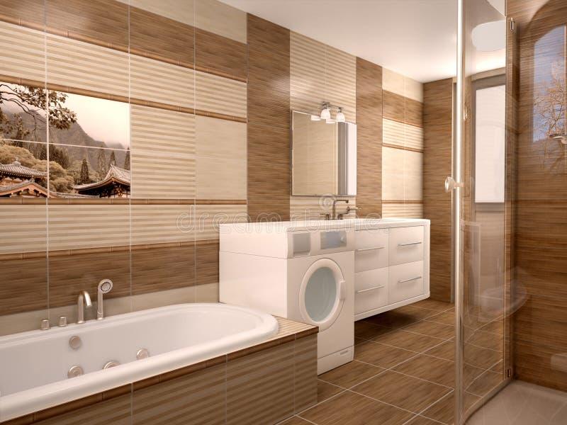 Interior moderno del cuarto de baño en tonos calientes ilustración del vector